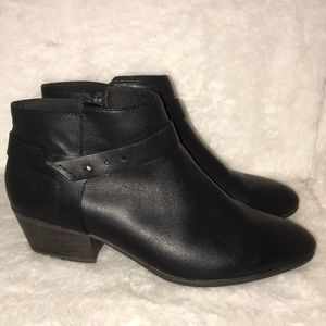 Black Clark's ankle strap booties